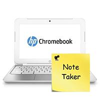 Chromebook running Note Taker app