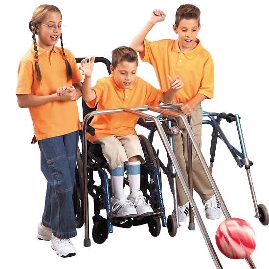 Group of kids excitedly using a bowling ramp.