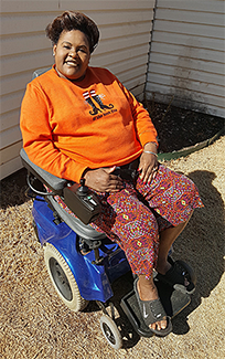 A Douglass received a power wheelchair. It will help her be more independent and feel more safe.