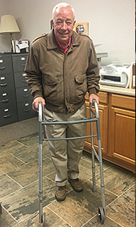 M Worden had hip replacement surgery and this walker will help him feel steady and safe.
