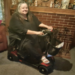 Pat Ponder and her scooter