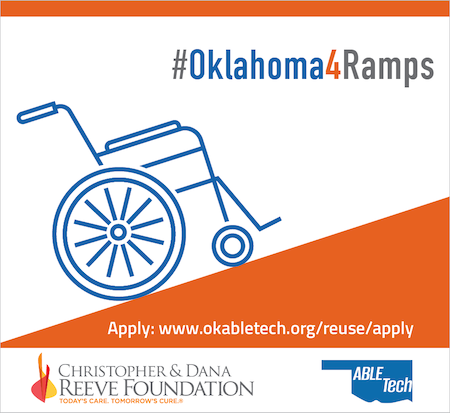 Oklahoma for Ramps graphic of orange ramp with wheel chair
