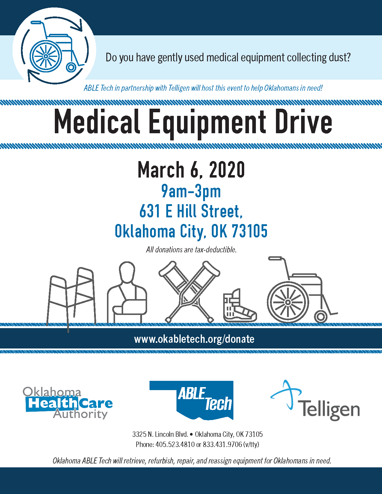 ABLE Tech - Medical Equipment Drive in OKC @ Credit Union House of Oklahoma