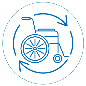 wheelchair with recycle arrows