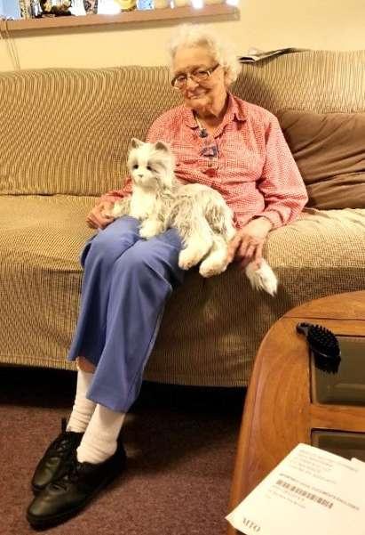 woman petting a stuffed animal cat